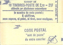"""CARNET 2319-C 3 Liberté De Delacroix """"CODE POSTAL"""", Avec R.E. Fermé Bas Prix Parfait état RARE - Usage Courant"""