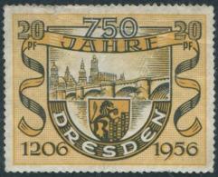 BRIDGE Germany 1956 DDR 750 Jahre Dresden 20 Pf. Donation Local Revenue Brücke Pont Arms Lion Wappen Charity Vignette - Bridges