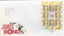 Great Britain FDC 2008 James Bond Sheet - London SE1  (NB**LAR8-60) - Cinema