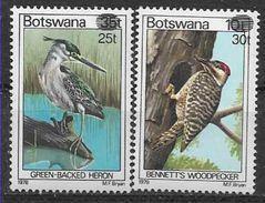 1981 BOTSWANA 441-42** Oiseaux, Surchargé - Botswana (1966-...)