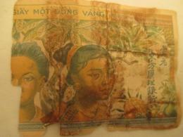 Billet Indochine  De Une Piastre  1940 Mauvais  Etat - Indochina