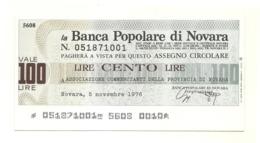 1976 - Italia - Banca Popolare Di Novara - Associazione Commercianti Della Provincia Di Novara - [10] Assegni E Miniassegni