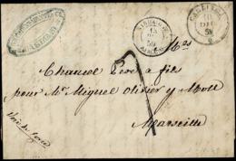 1859. CAGLIARI A MARSELLA. FECHADOR NEGRO ORIGEN. MARCA REMITENTE Y TRÁNSITO CERDAIGNE AJACCIO. INTERESANTE. - Italia