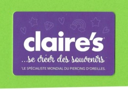 Carte Cadeau.   CLAIRE'S.    Gift Card. - Gift Cards