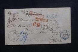 DANEMARK  - Enveloppe En Recommandé De Copenhague Pour Paris En 1867, Cachet Corps Législatif De Paris Au Dos - L 46510 - Lettere