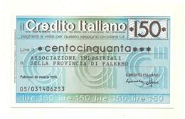 1976 - Italia - Credito Italiano- Associazione Industriali Della Provincia Di Palermo - [10] Assegni E Miniassegni