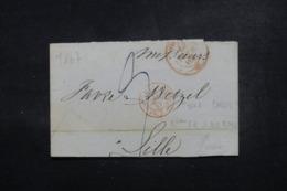 """FRANCE / SUISSE - Cachet D'entrée """" Bale Beau; Fr.3 De Bale """" En Rouge Sur Lettre En 1847 - L 46513 - Storia Postale"""