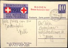 """Schweiz Suisse 1937: Bundesfeier-PK CPI # 85 """"Kinder"""" O BADEN Grosse Badenfahrt 1937 15,VIII.37 AUTOMOBIL-POSTBUREAU - Postwaardestukken"""