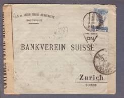 """Lettre Obl.  Salonique 06.03.1917 ->Zurich (Bankverein) Zensur/Censored/censure """"Armée D'Orient"""" 38 Et 15 + 311 - Guerra Del 1914-18"""