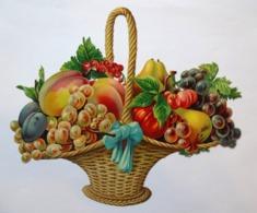 GRAND  CHROMO DECOUPI BRILLANT......PANIER DE FRUITS - Autres