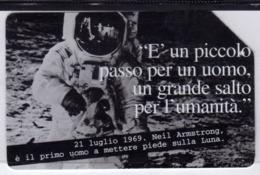 ITALIA ITALY SCHEDA TELEFONICA CARTA DI CREDITO TELECOM NEIL ARMSTRONG PAROLE CHE RACCONTANO UN SECOLO USATA LIRE 10000 - Italien