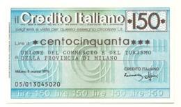 1976 - Italia - Credito Italiano- Unione Del Commercio E Del Turismo Della Provincia Di Milano - [10] Scheck Und Mini-Scheck