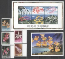 D105 DOMINICA FLORA NATURE FLOWERS ORCHIDS OF THE CARIBBEAN 1KB+1BL+1SET MNH - Orchideeën