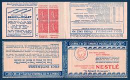 CARNET SÉRIE 191 Au TYPE SEMEUSE N° 199 Avec COUVERTURE NESTLÉ Et PUBLICITÉ RASOIR PHÉNIX CALVET - Definitives