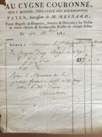 Facture Paris 1787. Au Cygne Couronné.Rue Saint-Honoré Au Comte De Choiseul - ... - 1799