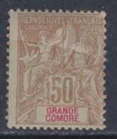 Grande Comore N° 19 X Type Groupe 50 C.bistre Sur Azuré, Trace De Charnière Sinon TB - Grote Komoren (1897-1912)