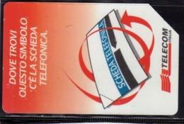 ITALIA ITALY SCHEDA TELEFONICA CARTA DI CREDITO TELECOM DOVE TROVI QUESTO SIMBOLO C'E LA SCHEDA USATA USED LIRE 5000 - Italia