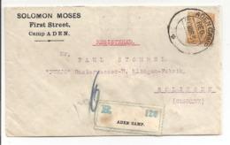 INDIA USED ABROAD ADEN CAMP.Registered Letter>Solingen Deutschland.SOLOMON MOSES ADEN 1930 - Aden (1854-1963)