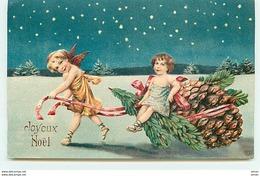 N°10601 - Carte Fantaisie Gaufrée - Joyeux Noël - Angelot Et Pomme De Pin - Kerstmis