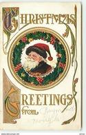 N°12684 - Carte Gaufrée - Christmas Greetings From ... - Père Noël Dans Un Médaillon - Kerstman