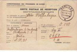 PRISONNIER DE GUERRE 40 45 ALLEMAND BELGIQUE CARTE COLIS   CAMP LAGER LGV - Militaria