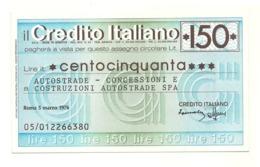 1976 - Italia - Credito Italiano - Autostrade - Concessioni E Costruzioni Autostrade SPA - [10] Assegni E Miniassegni