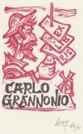 Ex Libris Carlo Grannonio (Don Quichote) - Remo Wolf (1912-2009) Gesigneerd - Exlibris