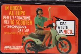 ITALIA ITALY SCHEDA TELEFONICA CARTA DI CREDITO TELECOM LA 10 VINCE ESTRAZIONE 10 SCOOTER HONDA USATA USED LIRE 10000 - Italy