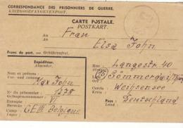 PRISONNIER DE GUERRE 40 45 ALLEMAND EN BELGIQUE CAMP LAGER CEIII VERS WEIHSENSEE CENSURE MILITAIRE BELGE 516 - Militaria