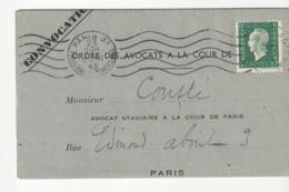Lettre De Paris Pour Paris Avec Type Marianne De Dulac  N°688, Seul Sur Lettre, Cote:15e, 1945 - France