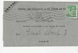 Lettre De Paris Pour Paris Avec Type Iris  N°649, Seul Sur Lettre, Cote:15e, 1945 - France