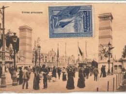 BRUXELLES - Exposition Universelle 1910 : 2 CPA : Maison Du Peuple - Entrée Principale ( Timbre ) - Mostre Universali