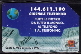 ITALIA ITALY SCHEDA TELEFONICA CARTA DI CREDITO TELECOM GIORNALE TELEFONICO 144.611.190 USATA USED LIRE 10000 - Italien