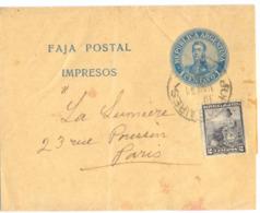 ARGENTINE ENTIER BANDE JOURNAL REPUBLICA ARGENTINA  IMPRESOS 1 CENTAVO 1 + TP 2 TàD BUENOS AIRES De 1901  => PARIS - Entiers Postaux