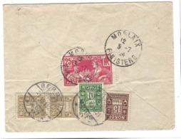 1924 Jeux Olympiques Paris, Lettre Taxée En Norvège ! 3 X 25 C. Jeux Olympiques + 4 Timbres Taxe NORGE. Norway. Mixed. - Poststempel (Briefe)