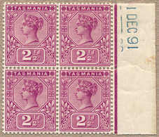 **/* 1891, 2 1/2 D., Purple, MH/MNH (3), IMPRIMATUR, Block Of Four From The Right Margin, With Strike Of Date 1 DEC 91 I - Australien