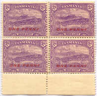 **/*/bof 1912, 1 D. On 2 D., Bright Violet, Block Of (4), Missplaced Perf. 11 Closed By Bottom Margin, New Perf. With 12 - Australien