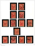 */o 1902, Collection Of (13) Used And Unused (MH) Singles On 1 Album Page, Showing Wmk Varieties, Perforation Varieties  - Australien