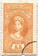 O 1895, 8 £, Ochre, Wmk 10, Black Single Circle Canc., Fiscal Parliament Presentation Proof, LPOG, F!. Estimate 200€. - Australien