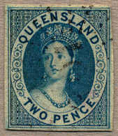 O 1860, 2 D., Blue, Used, Good To Large Margins/clear At Upper Right, Very Fresh And Fine, Cert. Hunziker, F-VF!. Estima - Australien