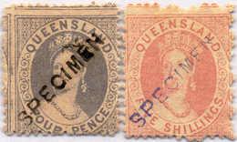 (*) 1866/67, 4 D., 5 Sh.,(2), Violet And Black SPECIMEN Overprint, NG, F! Estimate 180€. - Australien