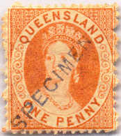* 1868-74, 1 D., Orange-vermilion, SPECIMEN Overprint, MH, VF!. Estimate 220€. - Australien