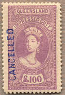 O 1895, £ 100, Mauve, Used With Blue CANCELLED, Very Attractive And Rare With This Coloured Cancellation, XF!. Estimate  - Australien