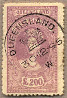O 1895, £ 200, Mauve, Used With Circulare QUEENSLAND, Very Attractive And Rare With This Cancellation, VF!. Estimate 300 - Australien