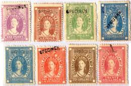 */(*) 1871-72, 1 D. - 20 Sh., Full Set With SPECIMEN Overprint, (2) NG, (6) MH, F - XF!. Estimate 1.400€. - Australien