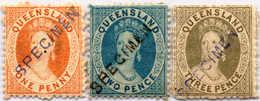 * 1868/74, 1 D., 2 D., 3 D., Small Lot Of (3), Black SPECIMEN Overprint, Not Listed, MH, VF - XF!. Estimate 600€. - Australien