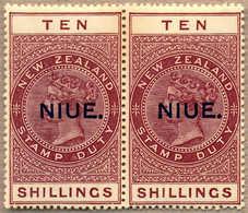 ** 1918-29, 10 S., Maroon,pair, NIUE Opt (T10), Fresh, MNH, VF-XF!. Estimate 600€. - Neuseeland