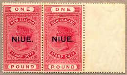 **/pair 1918-29, 1£, Rose-carmine, Pair With Right Margin, NIUE Opt (T10), Fresh, MNH, VF-XF!. Estimate 780€. - Neuseeland