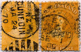 O 1865, 4 D., Yellow, Orange, (2), Two Shades, VF - XF!. Estimate 1.400€. - Neuseeland