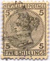 O 1878, 5 Sh., Grey, Used, VF!. Estimate 360€. - Neuseeland